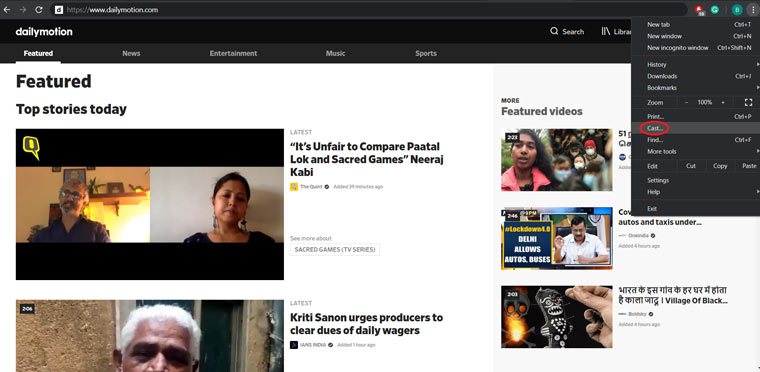 Cast dailymotion desktop