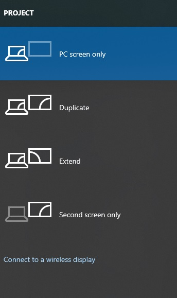 project action bar windows 10