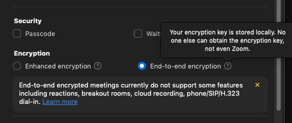 zoom end to end encryption-setting