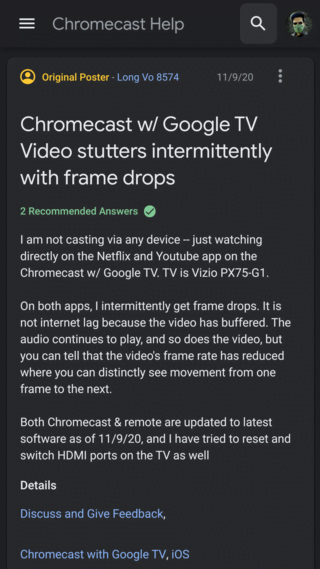 Chromecast With Google TV users report Frequent Frame Drops