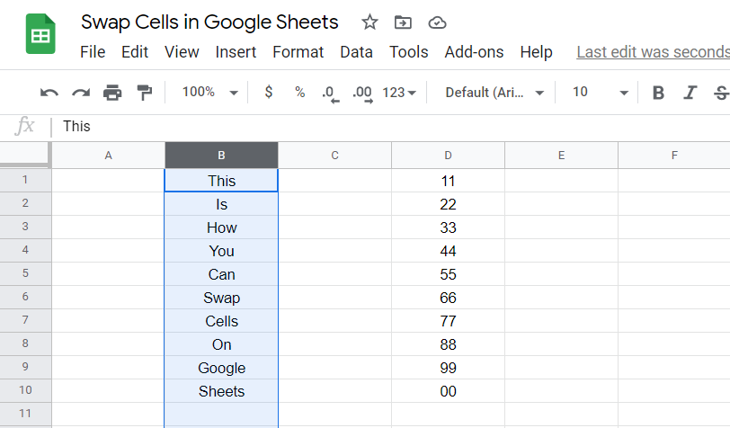 Swap Cells in Google Sheets Step A