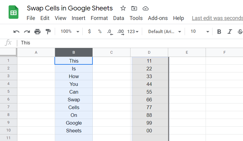 Swap Cells in Google Sheets Step B