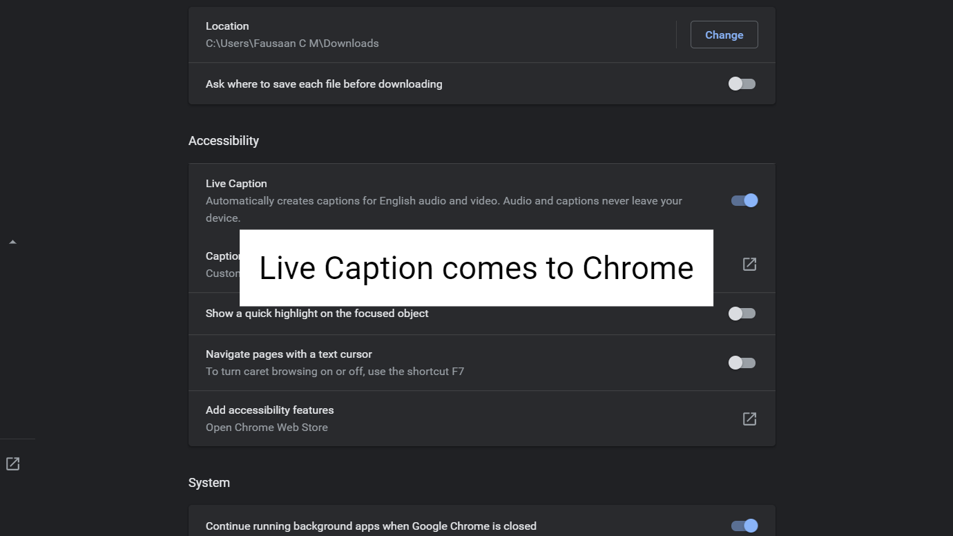 Live Caption Toggle comes to Chrome