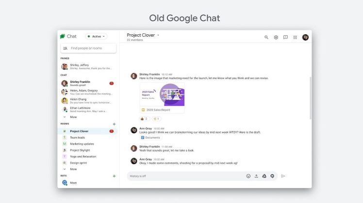 Old Google Chat UI