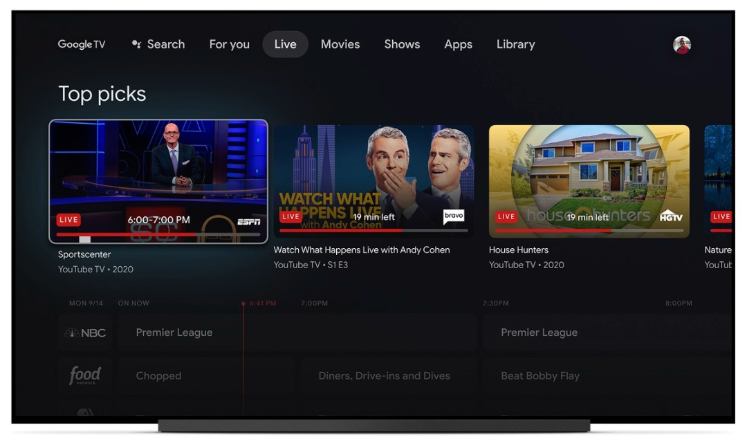 Sling TV Streaming Service Integrated into Google TV Live Tab