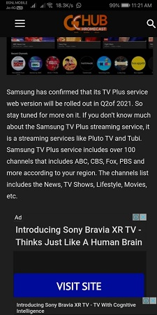 Ad Blocer Disabled in Samsung Internet