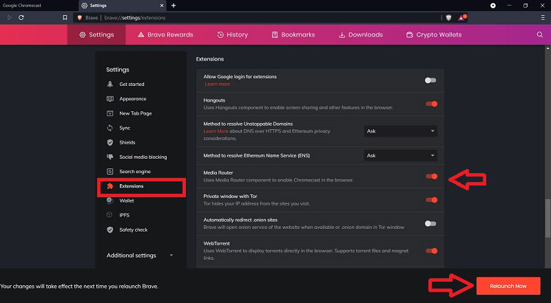 Enable Media Router in Brave