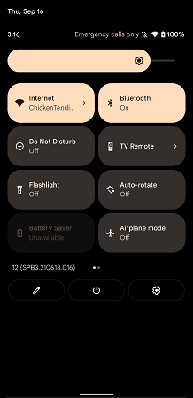 Android 12 and 11 quick access