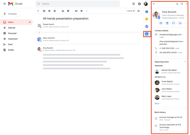 Know more about your coworker on Gmail   Source: Google